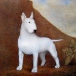 Konstnärstryck av John E Franzén  Vit hund 50:-