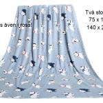 Filt i Blå lyxig fleece med bullar. Två storlekar. 140 x 200cm: 250:-  75 x100cm : 125:-